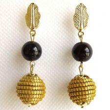Golden Grass Sphere, Vegetable Natural Gold Black Onyx Bead Ball Earrings Capim