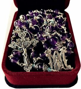 925 Sterling Silver Wire Wrapped Amethyst Rosary Beads Necklace Cross & Gift Box