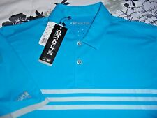 NWT Mens - ADIDAS - CLIMACHILL Polo Golf Shirt Blue Gray Stripe - M Medium NEW