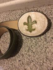 BNWOT Cheryl Dufault Rare Custom Design Artisan Leather Belt & Buckle Cowgirl 32