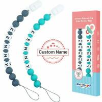 Personalised Dummy Clip Customised Name Pacifier Clips Newborn Gift Packing 2PC