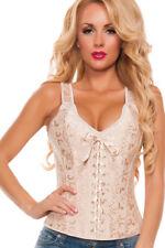 Nude Corset Bustier Lingerie Halter Lace Up Satin Bridal Burlesque Costume C3025