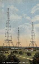 US Wireless Radio Station Towers Fort Myer Virginia 1910c postcard