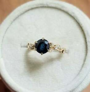 2Ct Round Cut Blue Sapphire Brilliant Engagement Ring 14K Yellow Gold Finish