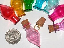 1 Glass small Tear potion Bottle vial tube pendant fairy oil urn charm PINK NEW