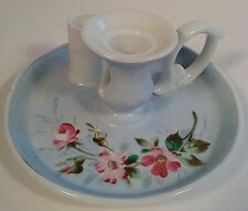 Candle Chamber Stick Holder w/ Match Striker Hand Painted Floral Porcelain 1900s