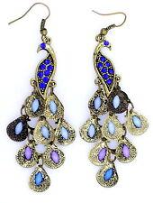 Vintage Art Deco bronze crystal peacock bird earrings