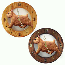 Norwich Terrier Wood Clock Red