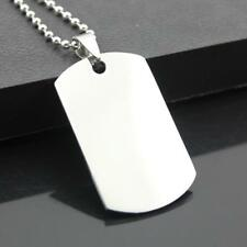 Stainless Steel Men Double-sided Dog Tag Smooth Pendent Necklace Blank Tag Gifts