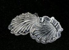 "GLASS RING PRESENTATION, TRINKET BOX Vintage Shell Shape Clear 2.5"" stash dish"