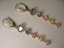 Gorgeous 14K Yellow Gold Multi-Colored Sapphire Dangle Drop Earrings