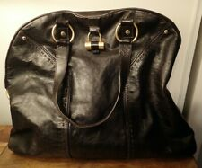 Yves Saint Laurent Muse Dark Brown Leather Large Satchel Hand Bag