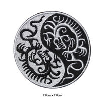 Yin Yang Dragon Embroidered Patch Iron on Sew On Badge For Clothes Bags etc