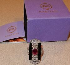 Rarities Carol Brodie Sterling Silver Ruby Black Spinel Diamond Ring New Size 6