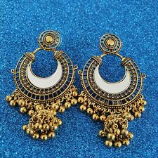 Indian Pakistani gold mirror jhumka chand bali statement earrings wedding party