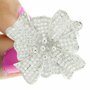 14k White Gold Over Round Cut Diamond Prong Set Engagement Flower Ring Size 7.5