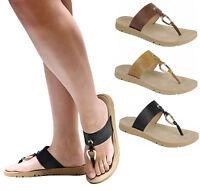 New Women R15 Gold Ring Thong Slip On Sandals Slides Slippers Flip Flops