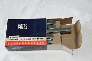 "BATES Vintage Partial Box of CHISEL POINT HIGH CARBON WIRE STAPLES H30- 1/2"""