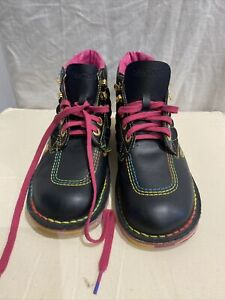 KICKERS Black Lace Up Ankle Boots Size 41