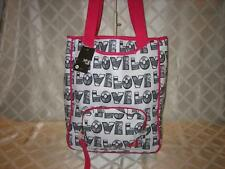 NWT ROXY LOVE WHITE AND BLACK CANVAS TOTEBAG