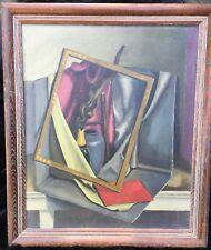 Mid-Century Geometric Still Life Oil Painting Signed B. Paar