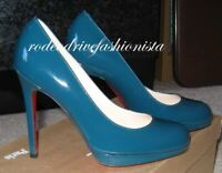 $845 CHRISTIAN LOUBOUTIN 35.5 NEW SIMPLE 120 Teal Patent Leather Platform Pump