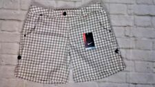 NWT Sz 8 NIKE GOLF Dri Fit WHITE GREY Check ROLL UP Cotton Blend Shorts POCKETS
