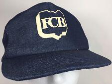 FCB First Commercial Bank Trucker Baseball Hat Blue Denim 90s Vintage Retro  Cap 6848e71ab40c
