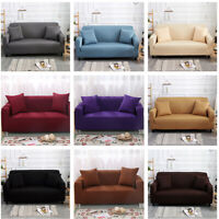 Pure Color Stretch Elastic Fabric Sofa Sectional Corner Couch Cover 1-4 Seater