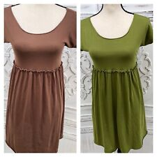 MAX STUDIO XS Lot 2 Feather Light Casual Dresses Pima Cotton Green Brown Sm FLAW