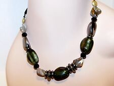 NEW Simply Vera Wang BLACK STONE, Crystal & MOTHER OF PEARL Bead NECKLACE No Tag