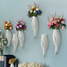 Fish Ceramic Wall Mounted Vase Decorative Hanging Flower Vase with Flower B