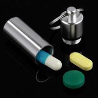 1x Pillendose Pille Mediamentenbox Tablettenbox Schlüsselanhänger Silver be C0X8