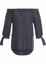 Leinen-Carmenbluse Gr. 54 Indigo Weiss Damen-Bluse Tunika Shirt 1xget NEUw