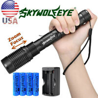 Tactical 90000LM T6 LED 18650 Zoomable Super Bright Flashlight Torch Lamp Light