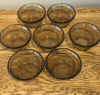 Vintage Lovenware USA (Pyrex)Custard Cups X7. 6 Oz/177ml Brown Smoked Glass