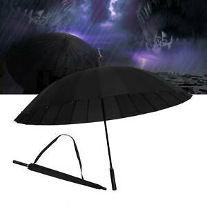 Men&Women Super Stormproof Strong Windproof 24 Steel Ribs Black Umbrella