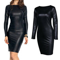 Women' s PU Leather Club Bodycon Wet look Long Sleeve Pencil Stretch Party Dress