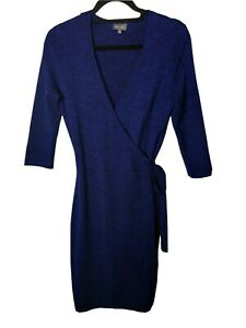 PHASE EIGHT Blue Knit Wrap Dress Size 12 Stretch Fitted Classic