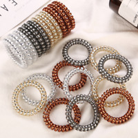 20pcs Hair Ties Ponytail Holder Spiral Coil Traceless Hair Bands Ropes Metallics