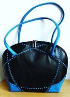 Large Black Leather Handbag/Tablet Bag - Black Tangerine - Brand New With Tag