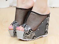 Summer Womens Platform Open Toe Wedge Heel Rivet Slingbacks Mesh Sandals Shoes