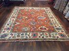 Fun Color Genuine Hand Knotted Indo Oushak Geometric Area Rug Carpet 8'1x9'9,#30