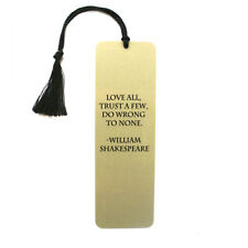 William Shakespeare quote on heart or rectangle metal bookmark with tassel gift