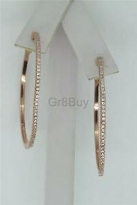EARRING: ROSE PINK RHODIUM PAVE CZ HOOPS