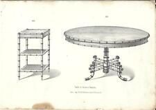 Stampa antica TAVOLI Bambù Mobili Arredamenti 1850 Old antique Print FURNITURE