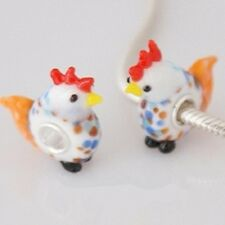 Sterling Silver Core Murano 925 MRS. CHICKEN BeaD fits all