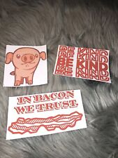 3 Handmade Pig Bacon And Be Kind Stickers