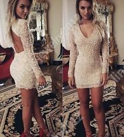 Women's Slim Sexy V-neck Lace Floral Mini Dress Backless Cocktail Bodycon Dress