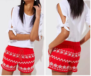 Ann Taylor Loft Womens Red White Aztec Embroidered Linen Riviera Shorts L/12 NWT
